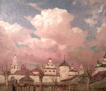 Town Scene 1989   Dimitri Oboznenko   Oil Painting