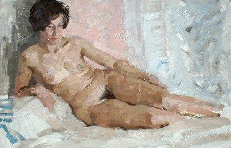 Nude study 1957   Dmitri I Shmelev   Oil Painting
