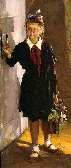 Young Pioneer at the Door | Fedor Shapaev 1927 | Oil Painting