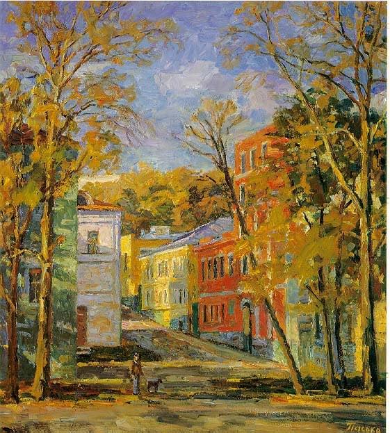 Autumn Evening   Gennadii Ivanovich Pasko 1940   Oil Painting