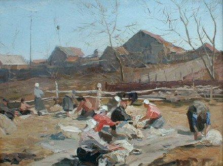 Spring Shearing 1956 | Gennadi P Sorogin | Oil Painting