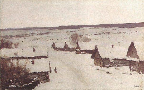 Village Winter 1887 | Isaak Levitan 1860-1900 | Oil Painting
