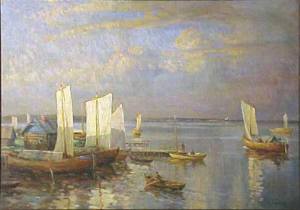 Evening at Little Harbor | Konstantin Ivanovitch Gorbatov 1876-1945 | Oil Painting