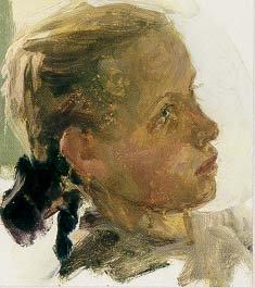 Study of a Girl 1959 | Lyudmila L Skubko-Karpas | Oil Painting