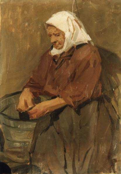 Peeling Potatoes 1956 | Mikhail Tkachev 1912 | Oil Painting