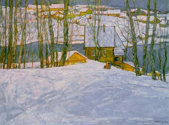Winter in Petrovskaya | Nikolai Efimovich Timkov 1912-1993 | Oil Painting