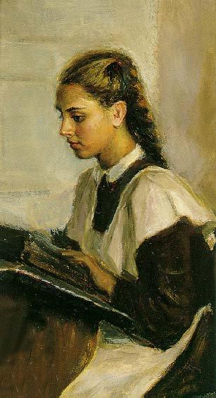 Student Behind School Desk | Nikolai Polyankov | Oil Painting