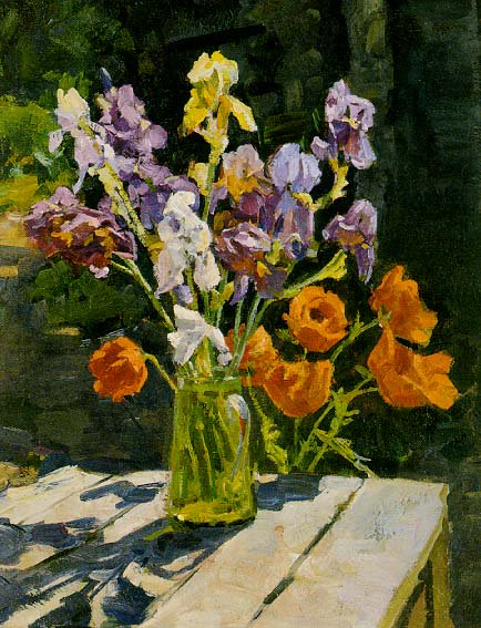 Irises and Poppies 1950's | Pavel Georgievich Markov 1910-1978 | Oil Painting