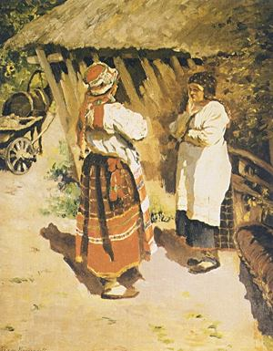 Two Latvian Peasant Women 1924   Sergei Arsenyevich Vinogradov 1869-1938   Oil Painting
