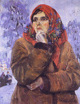Young Girl in a Red Scarf 1926 | Sergei Arsenyevich Vinogradov 1869-1938 | Oil Painting