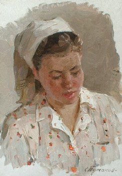 The girl from the village Semenov 1961 | Sergei Pavlovitch Tumakov 1919 | Oil Painting