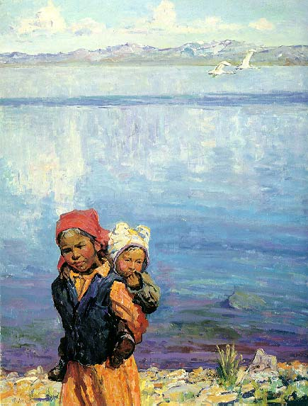 Lake Issyk-kul Morning | Vasilii Akimovich Arlashin 1923 | Oil Painting