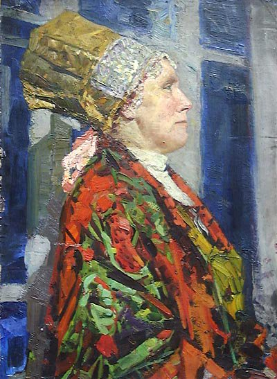 Woman in North Russia Costume 1960 | Victor Nikiforovich Makhorin 1923 | Oil Painting