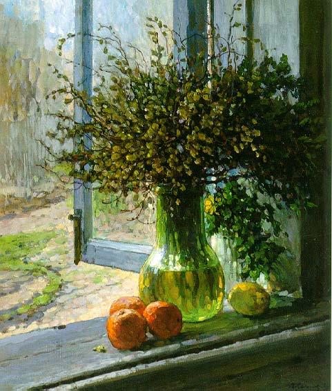 Still Life Pussy Willows 1937 | Vladimir Maximovich Sokolov 1909-1988 | Oil Painting