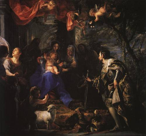 The Virgin and Child Adored by St. Louis King of France (St. Louis of France) | Claudio Coello | Oil Painting