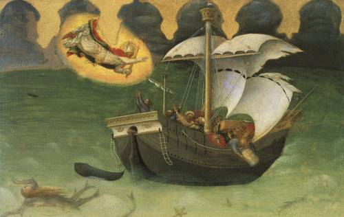 Predella Panel from Quartesi Altarpiece St. Nicholas Saves a Storm-tossed Ship (St. Nicholas) | Gentile da Fabriano 1425 | Oil Painting