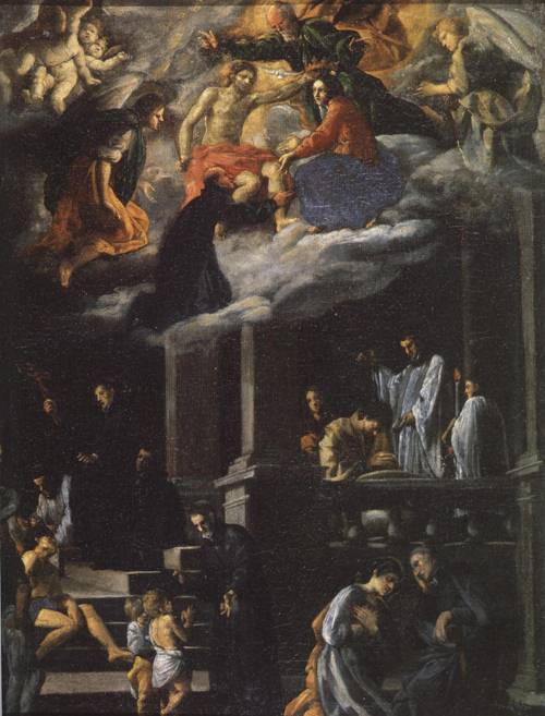 St. Ignatius in Glory and the Works of the Jesuit Fathers (St. Ignatius of Loyola) | Giovanni Battista Caracciolo 1629 | Oil Painting