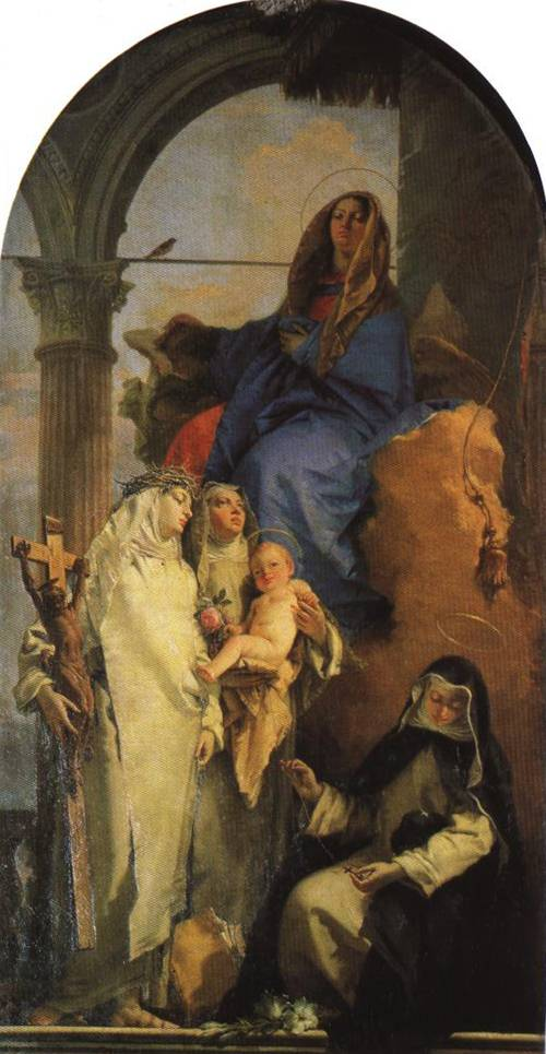 The Virgin Mary and Child with Three Dominican Saints. (St. Rose of Lima) | Giovanni Battista Tiepolo | Oil Painting