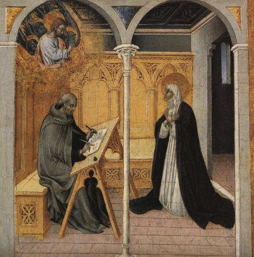 St. Catherine of Siena Dictating Her Dialogues to Raymond of Capua (St. Catherine of Siena) | Giovanni di Paolo 15th cent. | Oil Painting