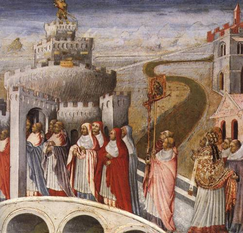 The Procession of St. Gregory to Sant' Angelo (St. Gregory The Great) | Giovanni di Paolo | Oil Painting