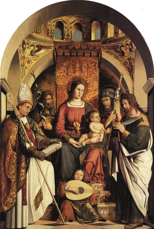 Altarpiece The  Virgin and Child with Saints (St. Gall) | Marco Marziale 1507 | Oil Painting