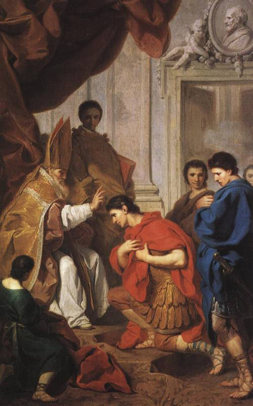 The Emperor Theodosius Being Pardoned by St. Ambrose (St. Ambrose) | Pierre Subleyras | Oil Painting