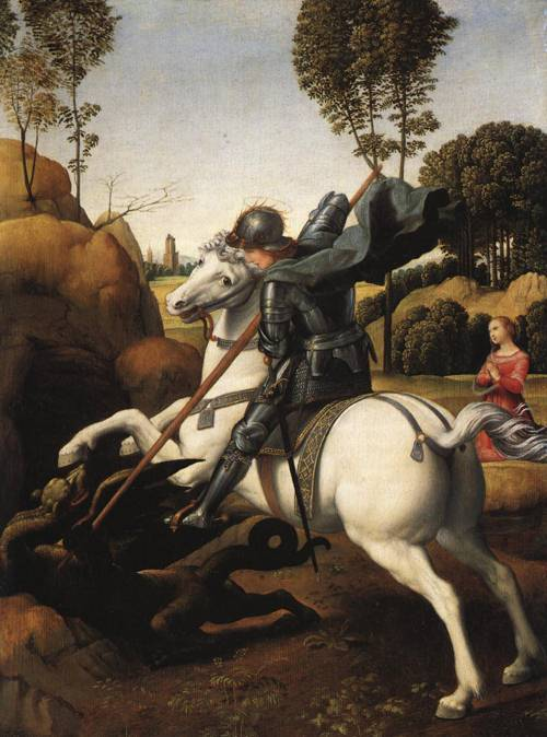 St. George and the Dragon (St. George) | Raphael 1506 | Oil Painting