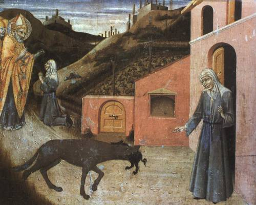 Predella Panel from Stories from Life of St. Blaise The Wolf Returning the Pig to the Poor Widow (St. Blaise) | Sano di Pietro | Oil Painting