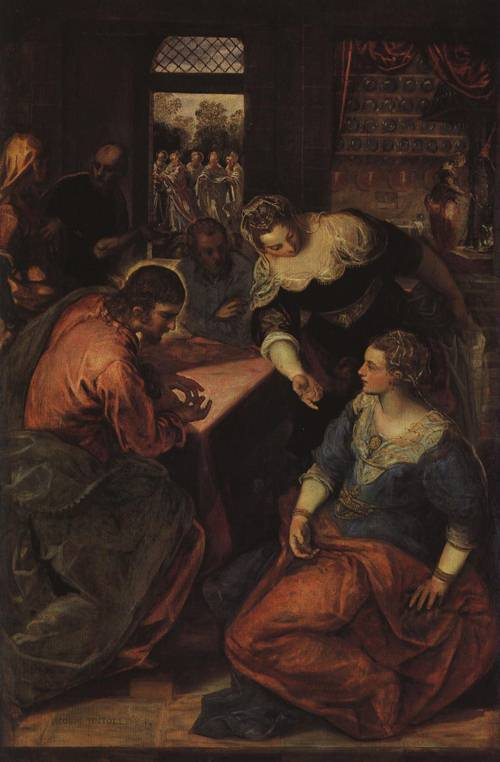 Christ in the House of Mary and Martha (St. Martha) | Tintoretto 1580 | Oil Painting