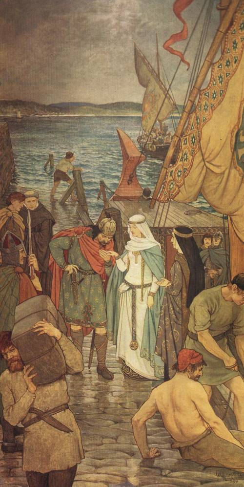 The Landing of St. Margaret at Queensferry (St. Margaret of Scotland) | William Hole | Oil Painting