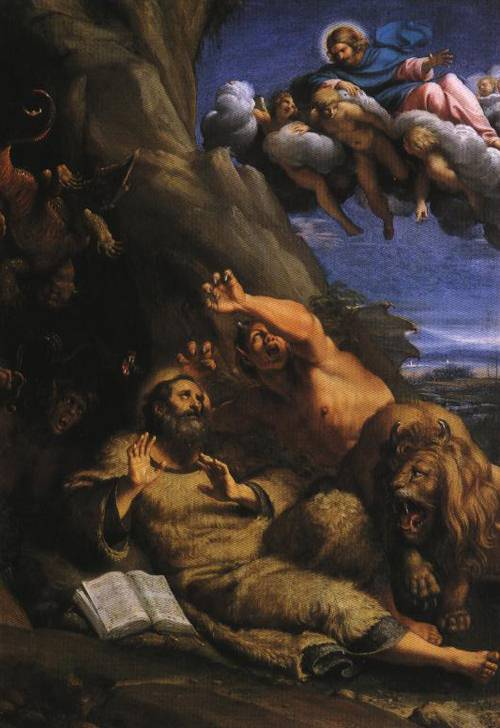 Christ Appearing to Saint Antony Abbot during His Temptation(St. Antony Abbot) | Annibale Carracci | Oil Painting