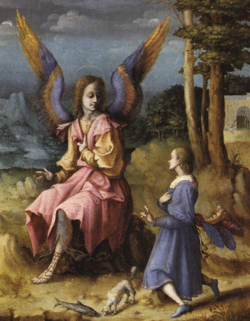 Tobias and the Angel (St. Raphael the Archangel ) | Bacchiacca | Oil Painting