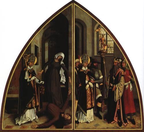 St. Valentine Heals the Epileptics and Rebukes the Worshippers of False Gods (St. Valentine) | Bartholomeus Zeitblom | Oil Painting