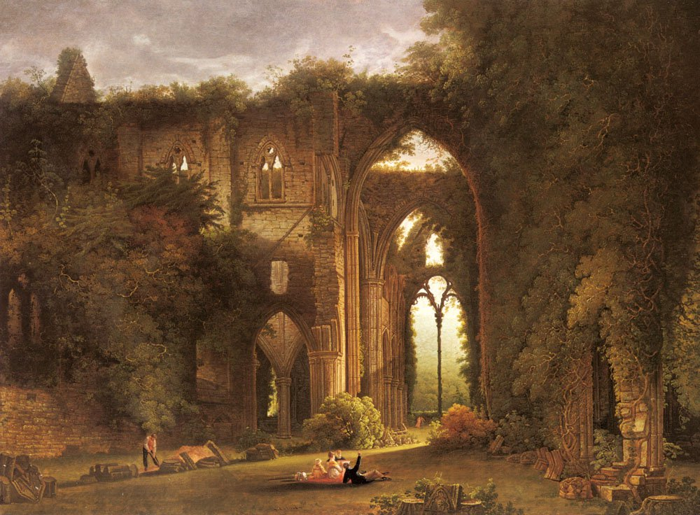 Tintern Abbey With Elegant Figures | Samuel Colman | Oil Painting