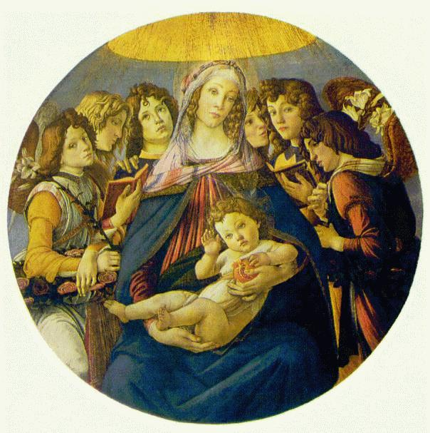 Madonna Of The Pomegranate (Madonna And Child And Six Angels) C1487 | Sandro Botticelli | Oil Painting