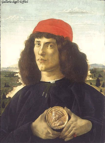 Portrait Of An Unknown Personage With The Medal Of Cosimo Il Vecchio 1474 | Sandro Botticelli | Oil Painting