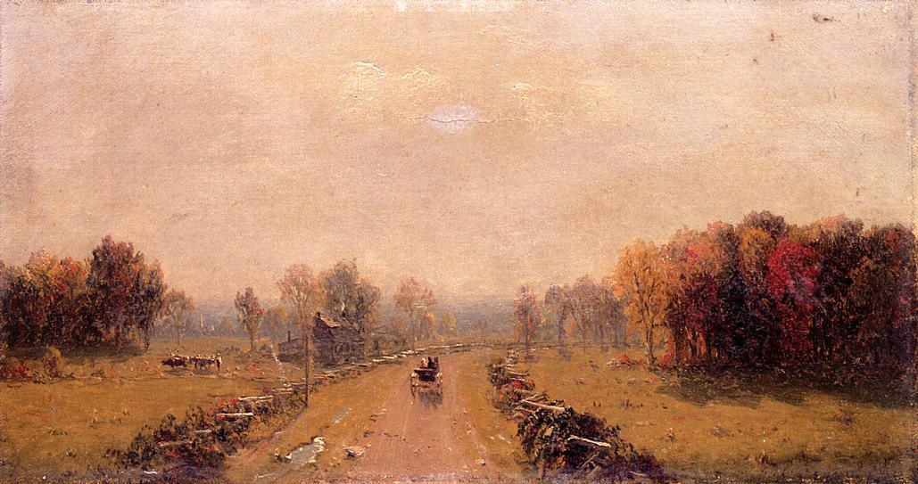 Carriage on a Country Road 1863 | Sanford Robinson Gifford | Oil Painting