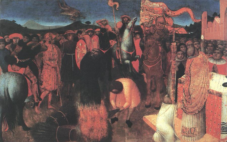 Death Of The Heretic On The Bonfire 1423 | Sassetta | Oil Painting