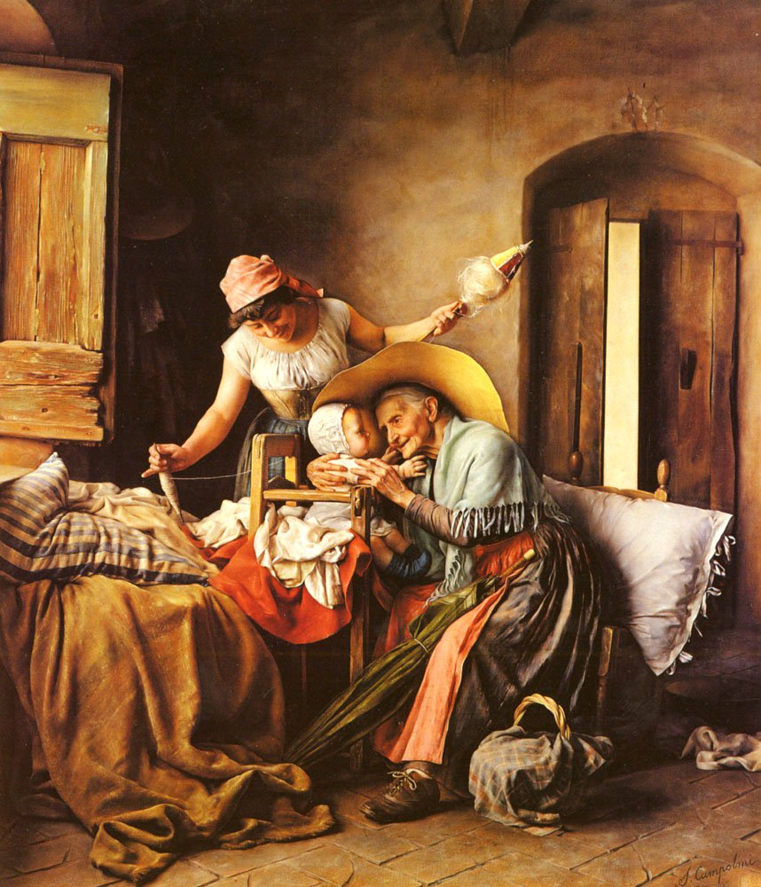 A Visit from Grandmother | S Campolmi | Oil Painting
