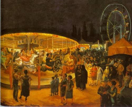 Travelling Carnival Santa Fe 1924   John Sloan   Oil Painting