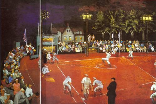 Baseball At Night 1934 | Morris Kantor | Oil Painting