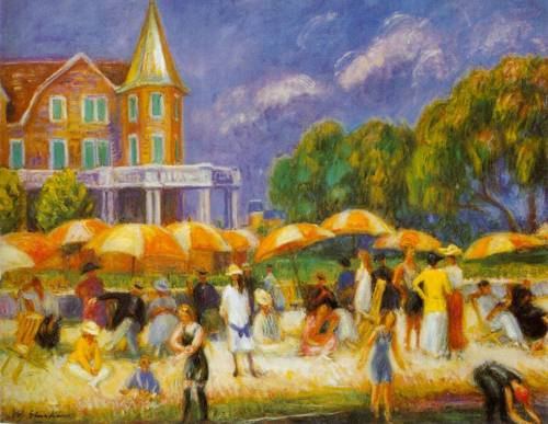 Beach Umbrellas At Blue Point 1915 | William Glackens | Oil Painting