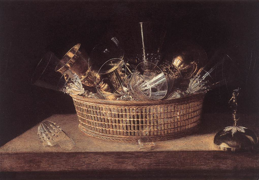 Still Life Of Glasses In A Basket 1644 | Sebastien Stoskopff | Oil Painting
