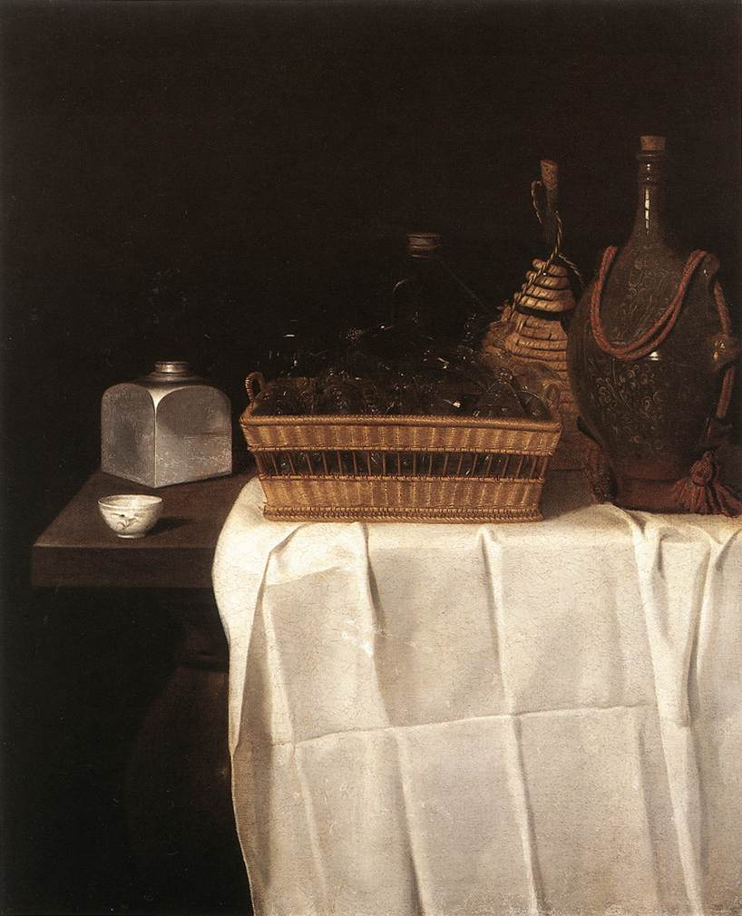 Still Life With Glasses And Bottles 1641-44 | Sebastien Stoskopff | Oil Painting