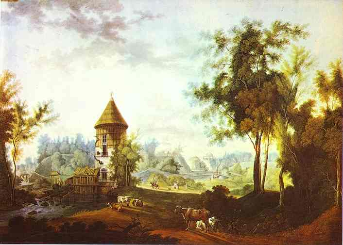The Mill And The Peel Tower At Pavlovsk 1792 | Semion Shchedrin | Oil Painting