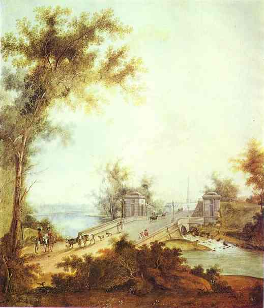 The Stone Bridge By Connetable Square At Gatchina 1798   Semion Shchedrin   Oil Painting