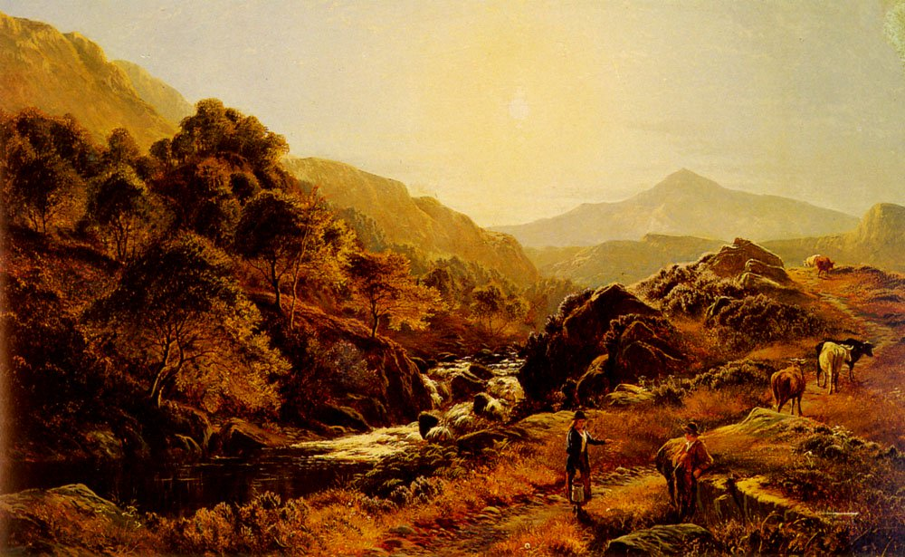 Figures On A Path By A Rocky Stream | Sidney Richard Percy | Oil Painting
