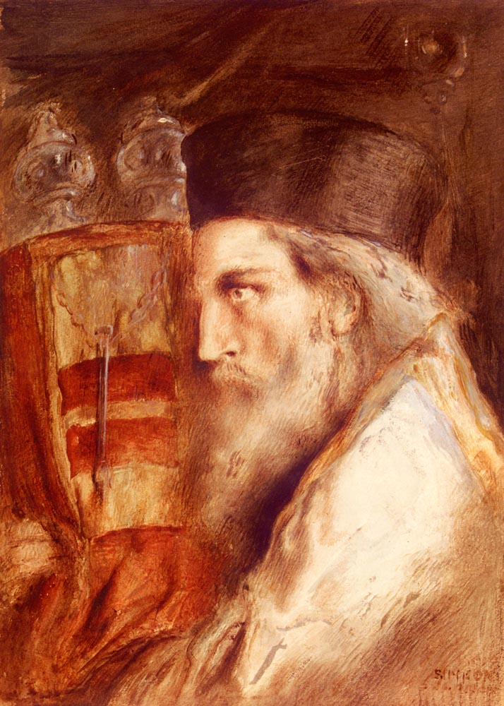 A Rabbi Holding The Torah | Simeon Solomon | Oil Painting