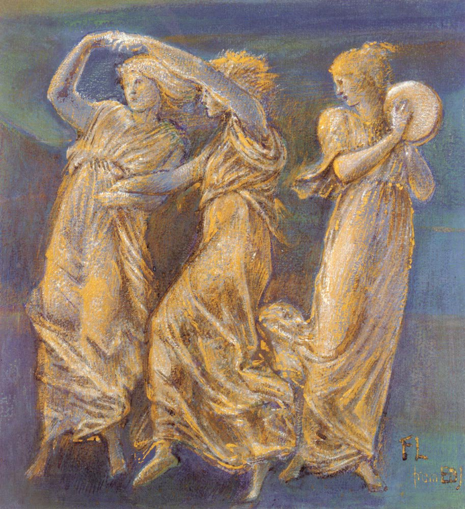 Three Female Figures Dancing And Playing | Sir Edward Coley Burne-Jones | Oil Painting