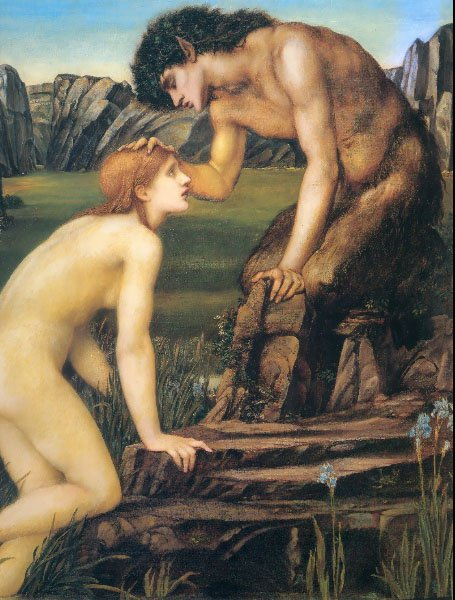 Psyche and Pan | Sir Edward Coley Burne-Jones | Oil Painting